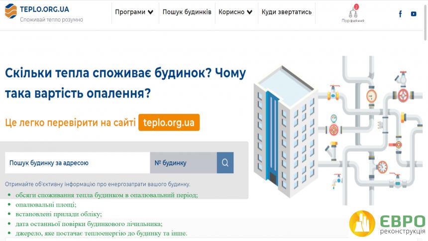 ТОВ «Євро-Реконструкція» приєдналося до онлайн-ресурсу teplo.org.ua. Все про енергоефективність та обсяги споживання тепла Ваших будинків